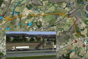 Vizualizace úseku Běchovice – D1 z YouTube ŘSD