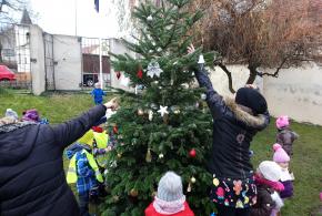 V loňském roce děti zdobily strom před knihovnou.