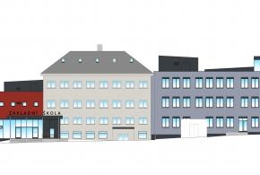 Aktuální pohled na budoucí objekt školy od západu