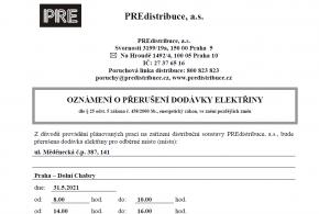 Přerušení dodávky elektřiny v ulici Měděnecká
